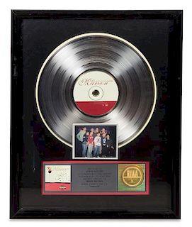 A Barenaked Ladies: Maroon RIAA Certified Platinum Presentation Album 21 1/2 x 17 1/2 inches.