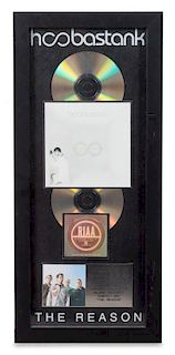 A Hoobastank: The Reason RIAA Certified 2x Platinum Presentation Album 21 1/2 x 9 1/2 inches.