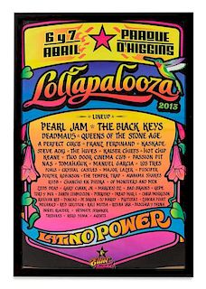 A 2013 Lollapalooza Concert Poster 29 1/4 x 19 1/4 inches visible.