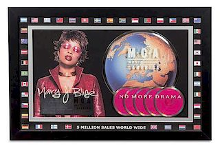 A Mary J. Blige: No More Drama M.C.A Certified 5 Million Worldwide Copies Sold Presentation Album 20 1/2 x 31 inches.