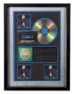 A Whitney Houston: My Love is Your Love RIAA Certified 3x Platinum Presentation Album 17 x 12 3/4 inches.