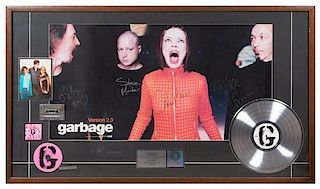 An Autographed Garbage: Version 2.0 RIAA Certified Platinum Presentation Album 49 x 28 inches.