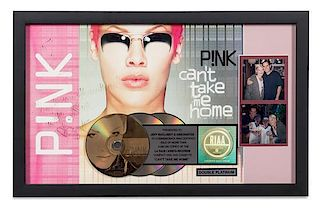 An Autographed Pink: Can't Take Me Home RIAA Certified 2x Platinum Presentation Album 13 1/2 x 20 1/2 inches.