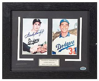 A Sandy Koufax Autographed Photo 9 3/4 x 11 3/4 inches overall.