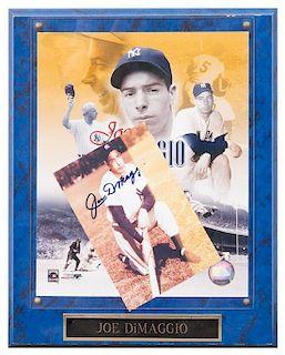 A Joe DiMaggio Autographed Photo Photo 6 x 4 inches.