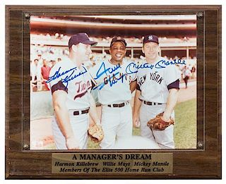 A Harmon Killebrew, Willie Mays and Mickey Mantle Autographed Photo Photo 8 x 10 inches.