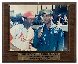 An Erine Banks & Lou Brock Autographed Photo photo 8 x 10 inches.
