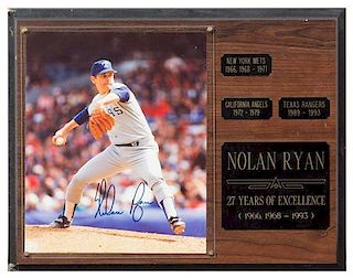 A Nolan Ryan Autographed Photo Photo 10 x 8 inches.
