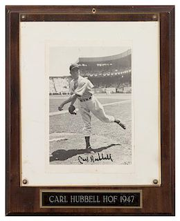 A Carl Hubbell Autographed Photo Photo 8 1/4 5 1/2 inches.