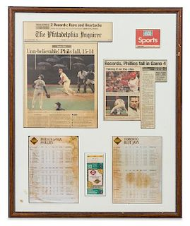 A 1993 World Series Framed Newspaper, Lineup Card and Ticket Stub 31 1/2 25 1/2 inches overall.