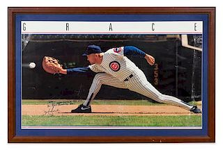 A Mark Grace Autographed Chicago Cubs Poster 20 x 33 1/2 inches visible.