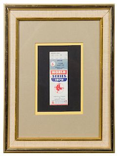 A 1975 World Series Game 6 Ticket Stub 14 1/2 x 11 1/2 inches overall.