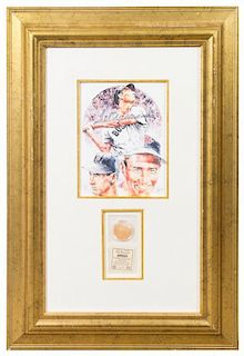 A Ted Williams Framed Baseball Bat Sawdust Presentation Plaque 29 x 20 inches overall.