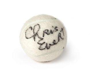 A Chris Evert Autographed Tennis Ball Diameter 2 7/10 inches.