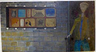Claude Bouscharain (1922 - ) South African surrealist painting