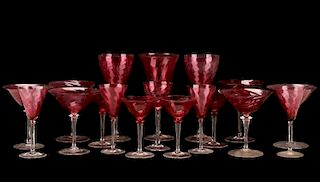 Group of Cranberry & Clear Swirl Glasses, Steuben
