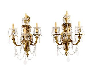 Pair, Gilt Bronze Neoclassical 4 Light Sconces