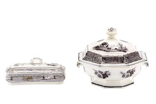 Two Pieces English Ironstone Transferware in Black