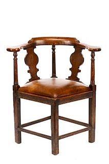 Georgian Style Carved Oak Corner Chair, 19th C.