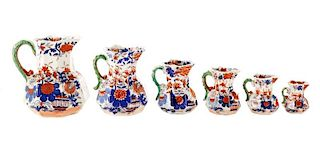 Group of Six English Mason's Ironstone Pitchers