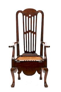 English Queen Anne Tall Back Necessary Chair