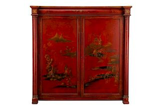 Red Chinoiserie Decorated Two Door Cabinet