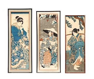 Three 19th C. Kakemono-e by Utagawa Kuniyoshi