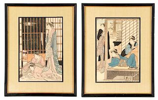 Two Edo Period Woodblock Prints After Kiyonaga