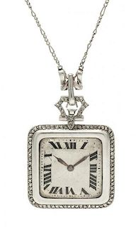 * An Art Deco Platinum and Diamond Pendant Watch Necklace, French, 21.00 dwts.