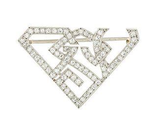 * An Art Deco Platinum and Diamond Monogram Brooch, 2.70 dwts.