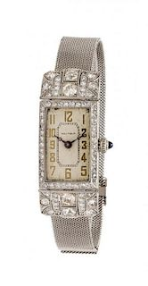 An Art Deco Platinum and Diamond Wristwatch, Waltham, Circa 1926, 25.40 dwts.