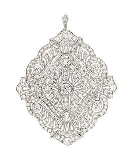 * A Platinum and Diamond Pendant/Brooch, Circa 1905, 14.80 dwts.