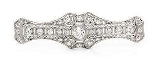 An Art Deco Platinum and Diamond Bar Brooch, 5.80 dwts.
