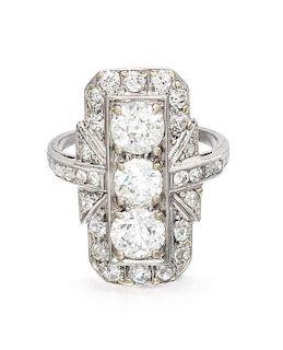* An Art Deco Platinum and Diamond Ring, 4.40 dwts.
