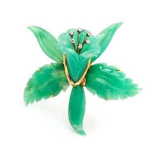 A Yellow Gold, Chrsyoprase and Diamond Orchid Brooch, 24.40 dwts.