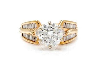 * A Yellow Gold and Diamond Ring, 4.00 dwts.