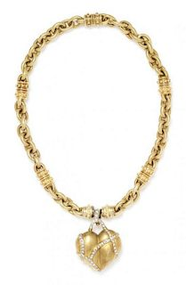 A Yellow Gold and Diamond Heart Motif Necklace, 96.60 dwts.