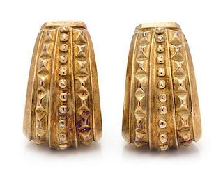 A Pair of Yellow Gold Earclips, 14.30 dwts.