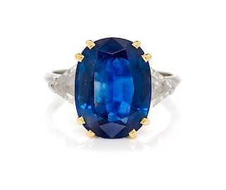 A Platinum, Yellow Gold, Sapphire and Diamond Ring, 4.10 dwts.