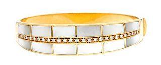 An 18 Karat Yellow Gold, Mother-of-Pearl and Diamond Bangle Bracelet, 21.50 dwts.