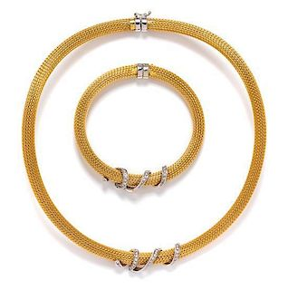 * An 18 Karat Bicolor Gold and Diamond Demi Parure, 65.50 dwts.
