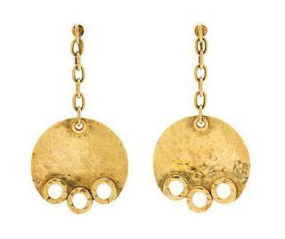 * A Pair of 18 Karat Yellow Gold Dangle Earclips, British, Circa 1969, 3.90 dwts.