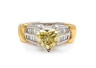 * A Platinum, 18 Karat Yellow Gold, Colored Diamond and Diamond Ring, 6.30 dwts.