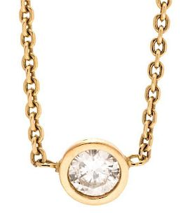An 18 Karat Yellow Gold and Diamond Solitaire Necklace, 2.10 dwts.