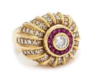 An 18 Karat Yellow Gold, Diamond and Ruby Ring, 10.60 dwts.