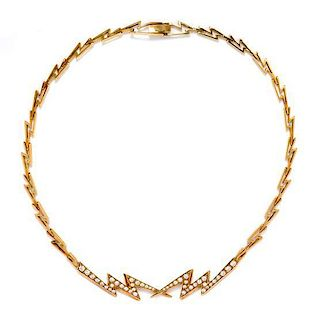 A 18 Karat Yellow Gold and Diamond Lightening Bolt Motif Necklace, 18.60 dwts.