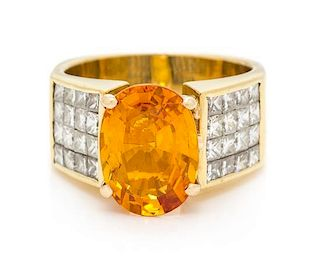 A Yellow Gold, Orange Sapphire, and Diamond Ring, 9.10 dwts.