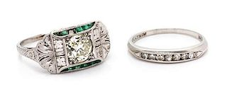 A Collection of Art Deco Platinum and Diamond Rings, 4.50 dwts.