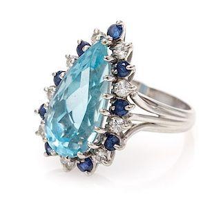 A 14 Karat White Gold, Aquamarine, Diamond and Sapphire Ring, 4.00 dwts.