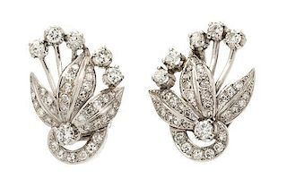 A Pair of Platinum and Diamond Earclips, 8.90 dwts.